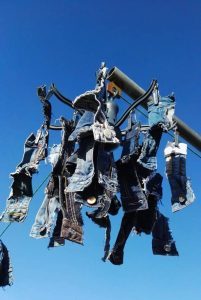 Zips for purses drying in the sunshine