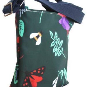 Amy Small Cross Body Zip Top Bag – Green Fuchsia