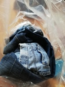 Jeans as they arrive from the charity shop