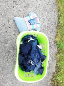 Washing basket full of wet jeans