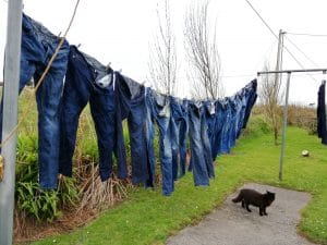 Two loads jeans on the line, 3 more to go