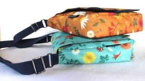 Orange and Blue Daisy Clare Large Messenger Bags