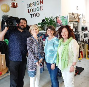 Filming Nationwide with Cemerman Des, Presenter Anne Cassin, and Bernadette McCarthy of Design Lodge Too