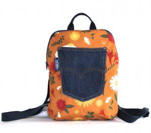 Small Backpack in Orange Daisy fabric