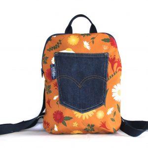 Jane Small Backpack – Orange Daisy Fabric