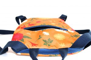 Jane Small Backpack in Orange Daisy fabric