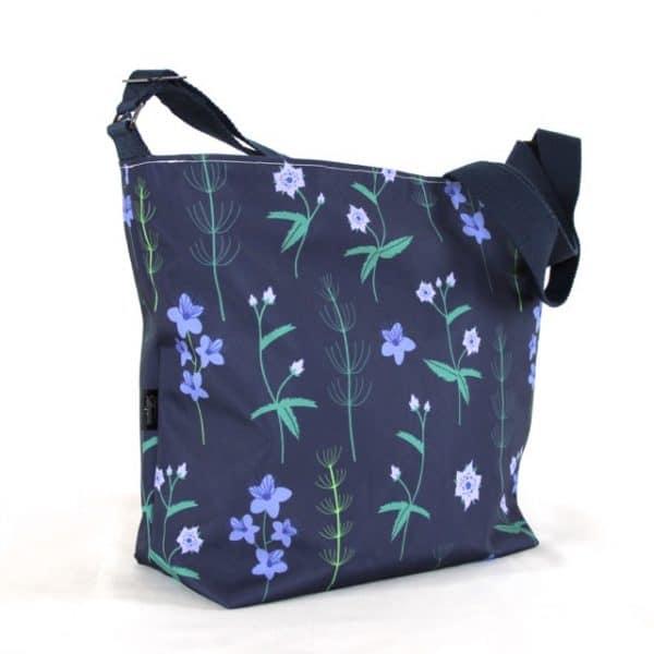 Tara Large Zip Top Handbag in Blue Burren