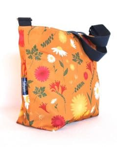 Tara Large Zip Top Handbag in Orange Daisy