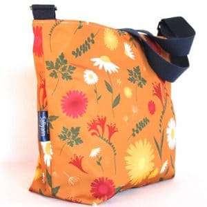Tara Large Zip Top Handbag – Orange Daisy