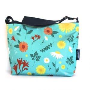 Fely Medium Zip Top Handbag in Blue Daisy