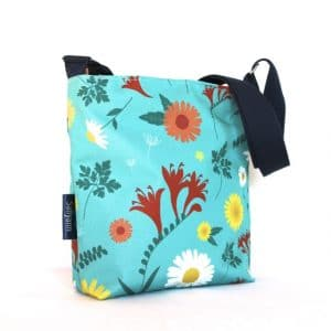 Amy Small Cross Body Zip Top Bag – Blue Daisy