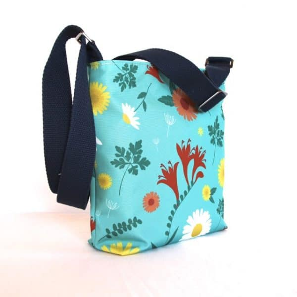 Amy Small Zip Top Handbag in Blue Daisy