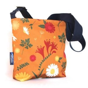 Amy Small Cross Body Zip Top Bag – Orange Daisy