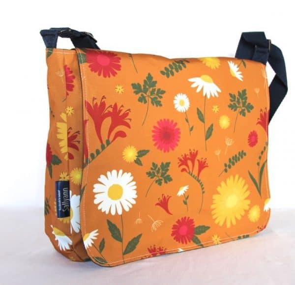 Clare Large Messenger Handbag in Orange Daisy