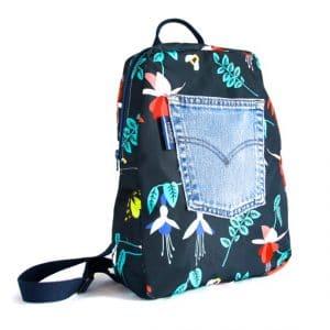 Marie Backpack – Blue Fuchsia Fabric
