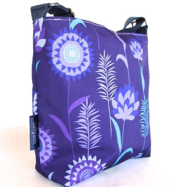 Amy Small Zip Top Handbag in Purple Meadow