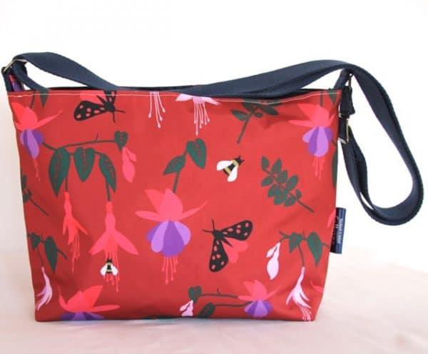 Fely Medium Zip Top Handbag in Red Fuchsia