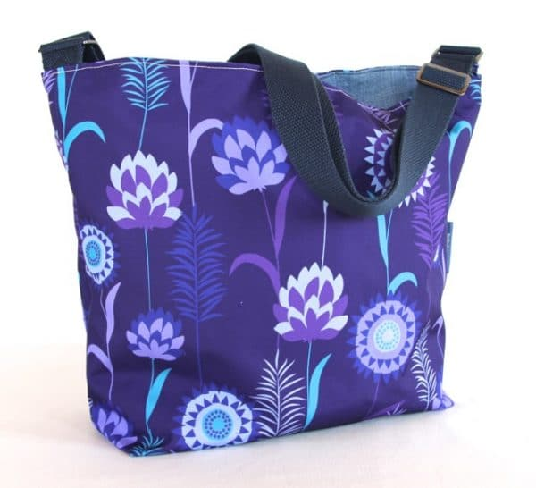 Tara Large Zip Top Handbag in Purple Meadow