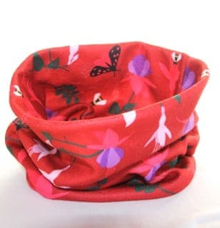 Fleecy Neck Warmer in Red Fuchsia Fleece