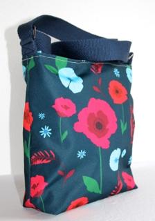 Amy Small Zip Top Handbag in Blue Poppy Fabric