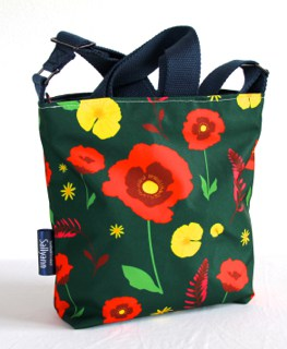 Amy Small Zip Top Handbag in Green Poppy Fabric