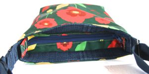 Amy Small Cross Body Zip Top Bag – Green Poppy