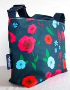 Fely Medium Zip Top Handbag in Blue Poppy Fabric
