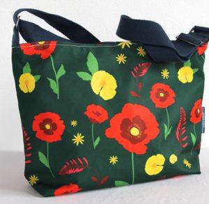 Fely Medium Cross Body Zip Top Bag – Green Poppy