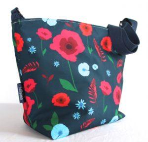 Tara Large Zip Top Handbag in Blue Poppy Fabric