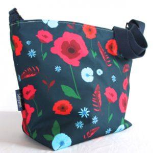 Tara Large Zip Top Handbag – Blue Poppy