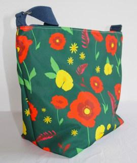Tara Large Zip Top Handbag in Green Poppy Fabric