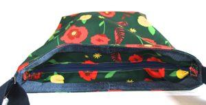Tara Large Zip Top Handbag – Green Poppy