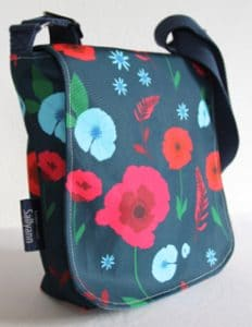 Fiona Small Messenger in Blue Poppy Fabric