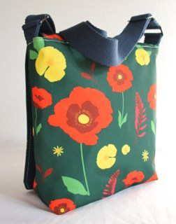 Fiona Small Messenger in Green Poppy Fabric