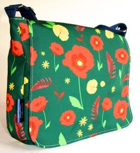 Clare Large Messenger Bag – Green Poppy