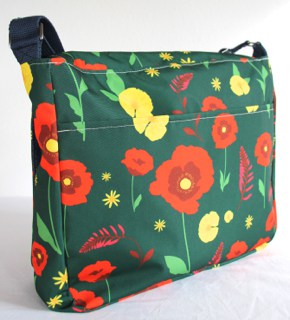 Clare Large Messenger in Green Poppy Fabric