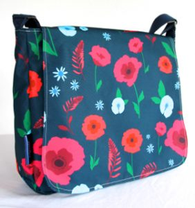 Clare Large Messenger in Blue Poppy Fabric