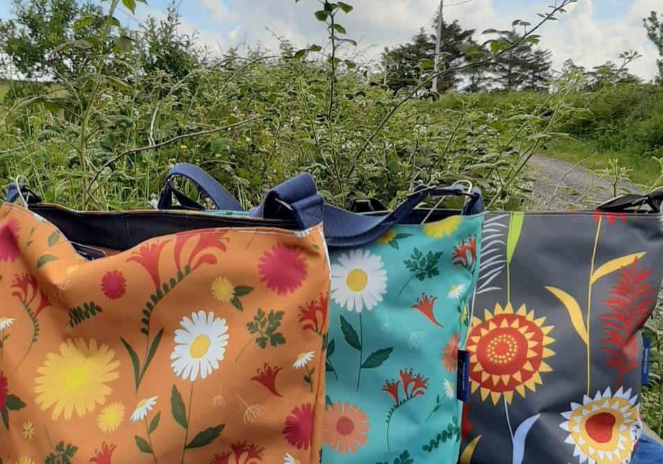 Tara Large Zip Top Handbags in Orange and Blue Daisy and Grey Meadow fabrics