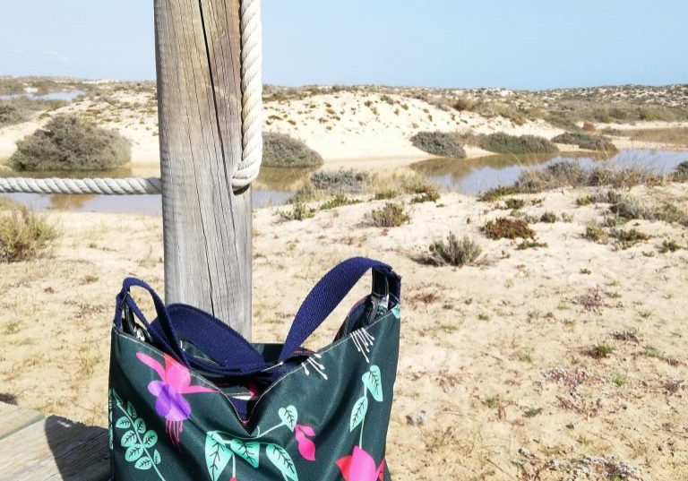 Tara Bag in Green Fuchsia enjoying the sunshine